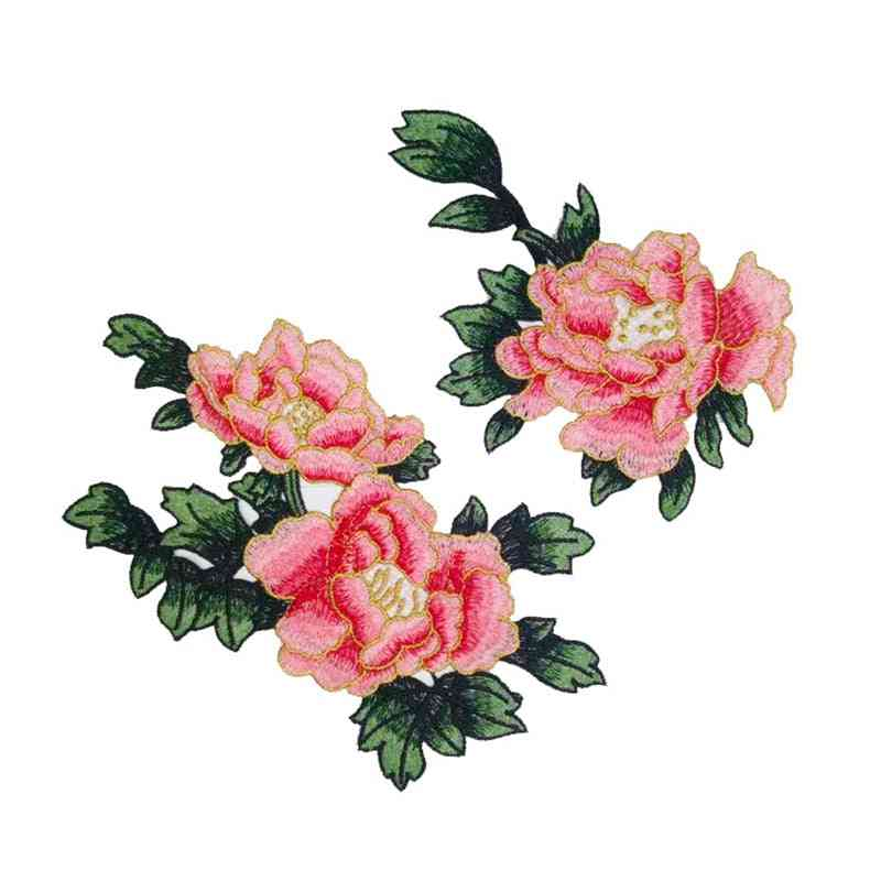 Sew On Patches Multicolor Peony Flower Embroidery Patch Stickers