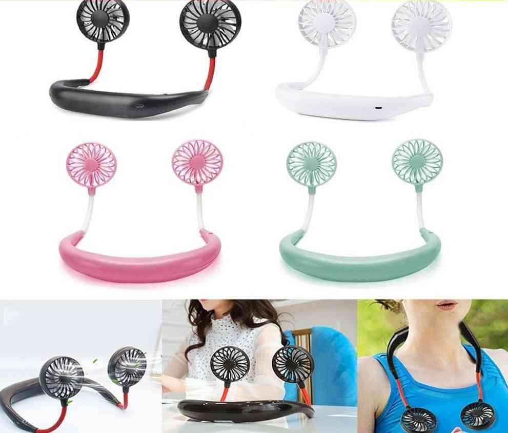 Portable Hand Free Neckband Rechargeable Battery Operated Fans