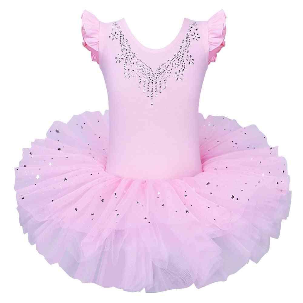 Girls Ballet Tutu Tulle Dress, Sleeveless Gymnastics Leotard Diamond Leotard
