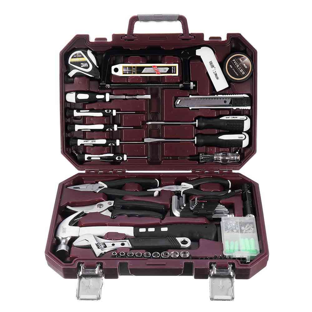 Repair Tool Ratchet Wrench Drive Socket Set With Plastic Toolbox Storage Case