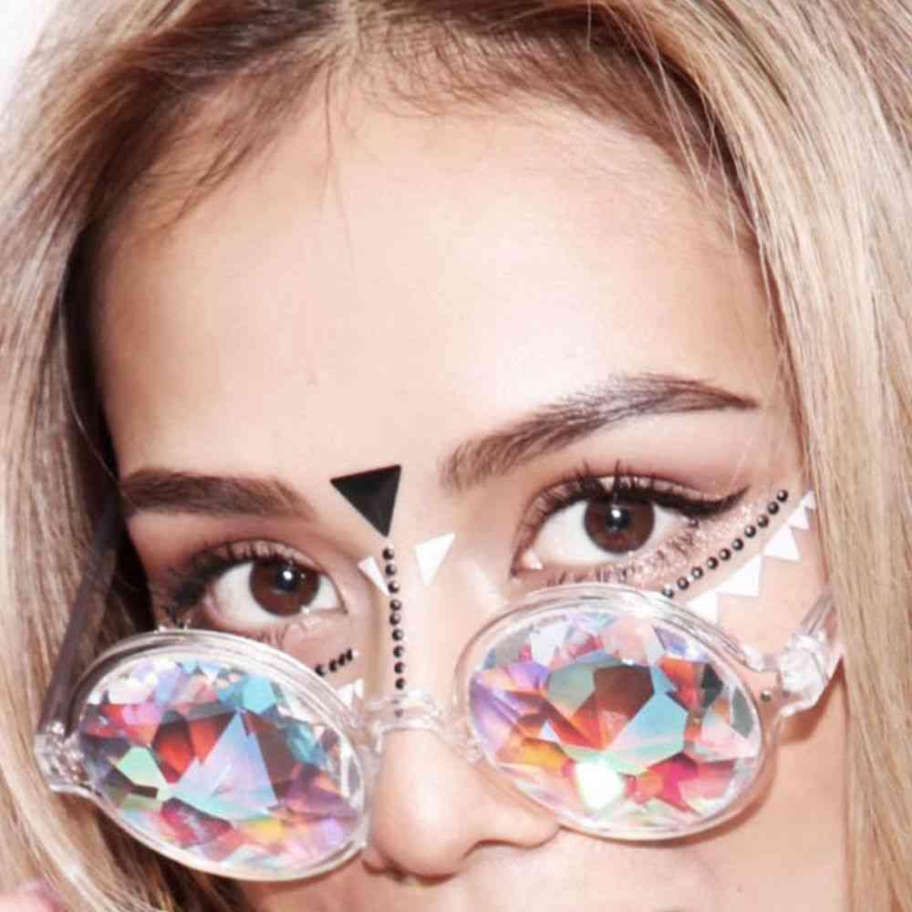 Clear Round Glasses Kaleidoscope Eyewears Crystal Lens Party Rave Sunglasses Female Men's