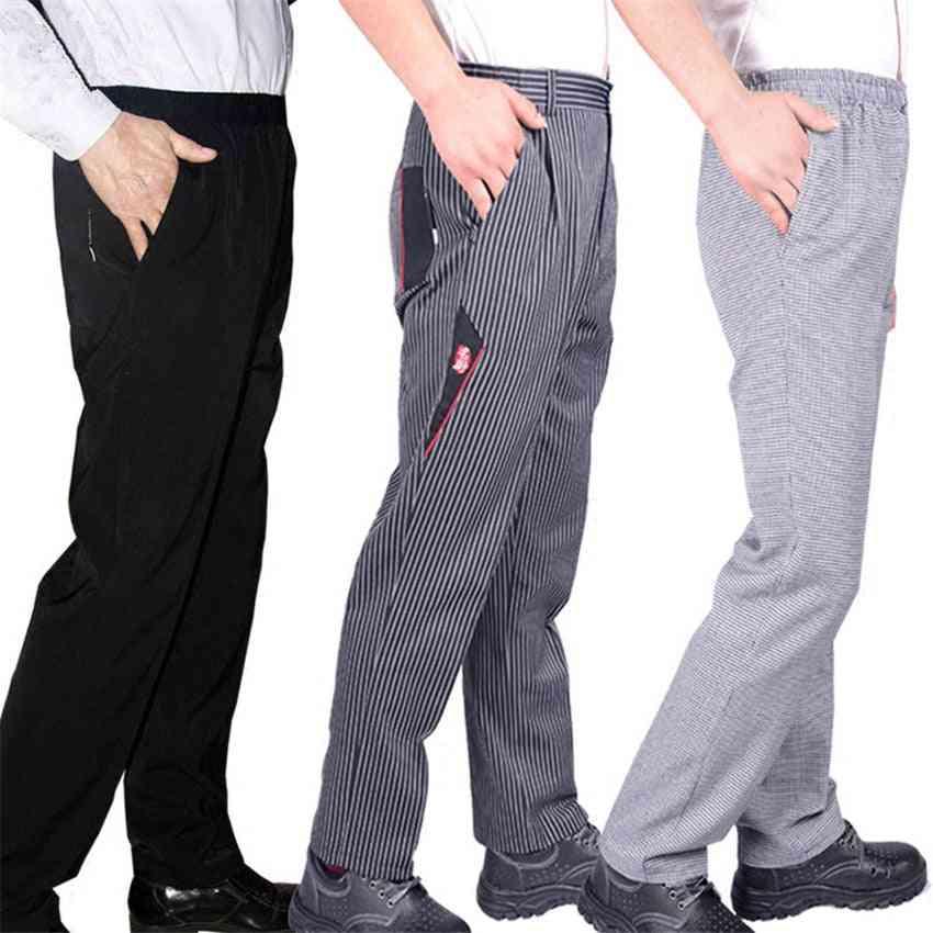 Men's Loose Chef Trousers Food Service Workwear Stripe Kitchen Restaurant Uniform