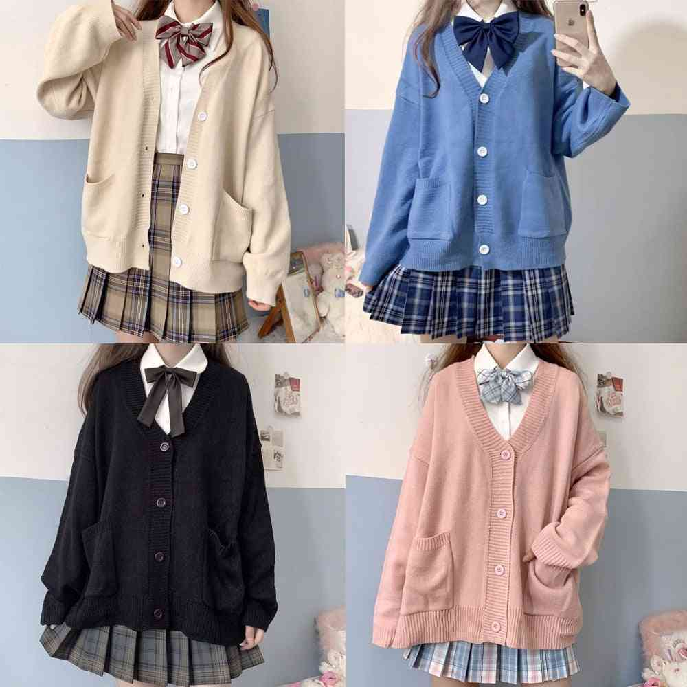 Spring & Autumn V-neck Cotton Knitted Sweater, Uniforms For Student