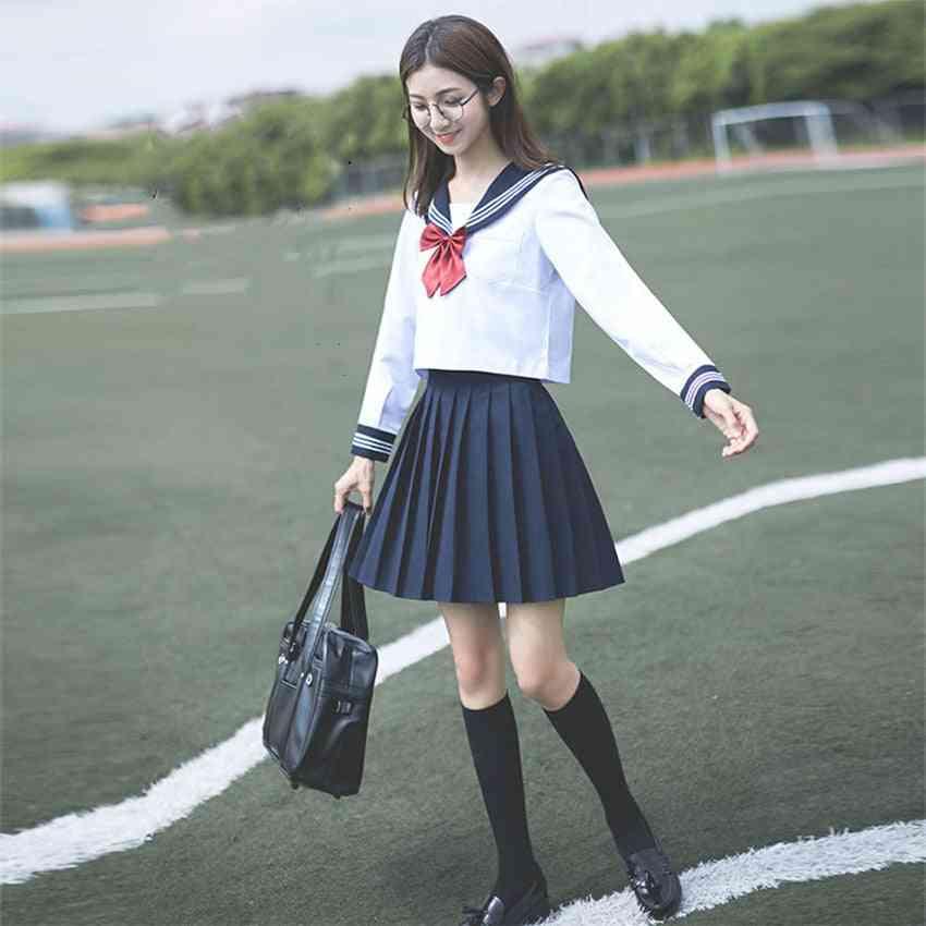 School Uniform, Girl Cosplay Graduation Top, Skirts, Collar & Socks Set