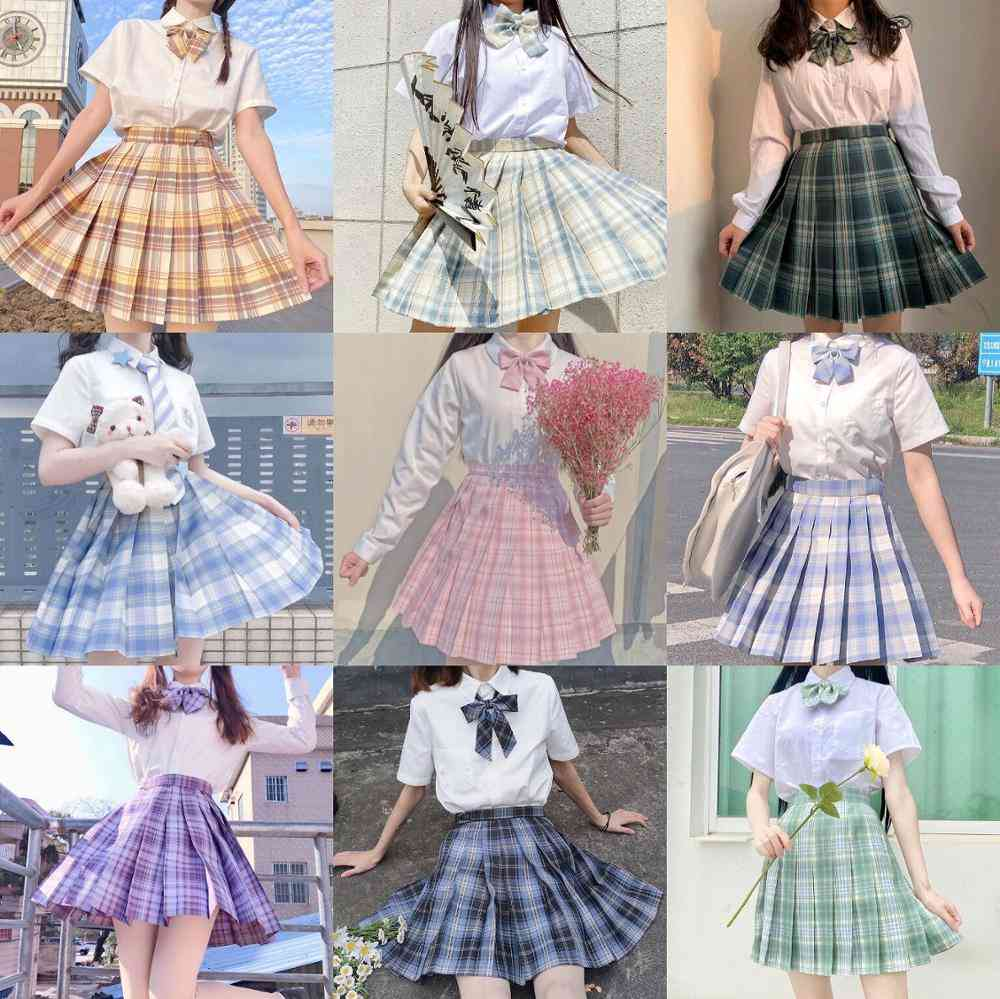 School High Waist A-line Plaid Skirt Uniforms