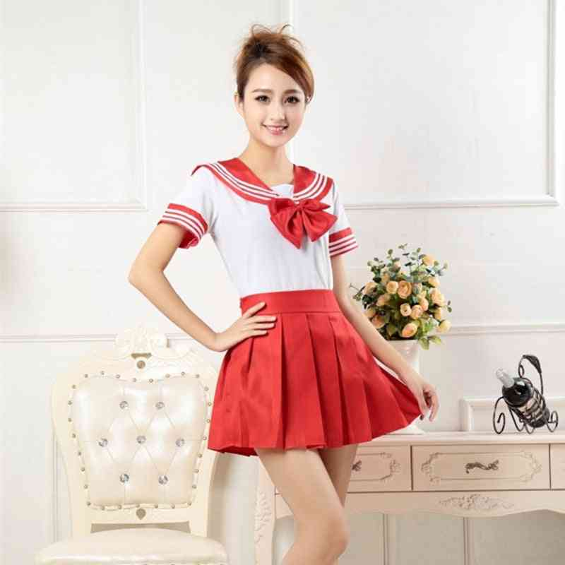 School Uniforms Anime Cos Sailor Suit Top, Tie & Skirt For Girl