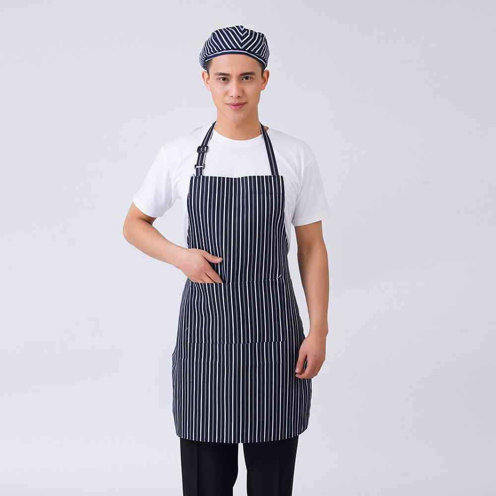 Striped Plaid Graphic Print Adjustable Halter Neck Cooking Wear Aprons