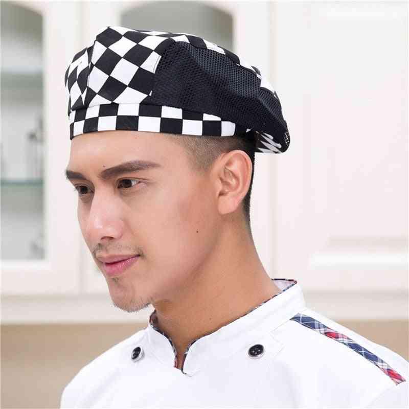 Men/women Mesh Patchwork Chef Restaurant Kitchen Cooking Cap