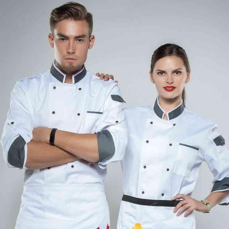 Chef Long Adjustable Sleeve Cook Coat, Restaurant Hotel Kitchenware, Waiter Uniform