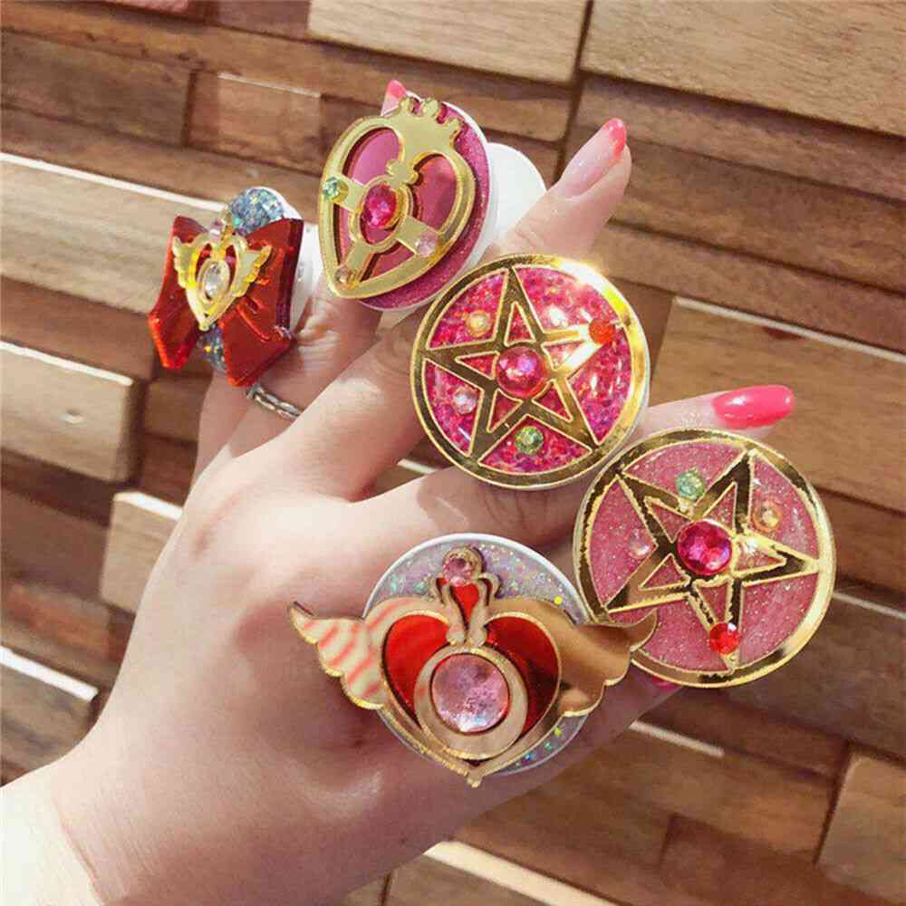 Universal Sailor Moon Phone Stretch Bracket Cartoon Finger Ring Holder Socket