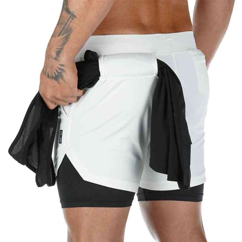 Double Layer Jogger Men 2in1pant Gyms Fitness Beach Shorts
