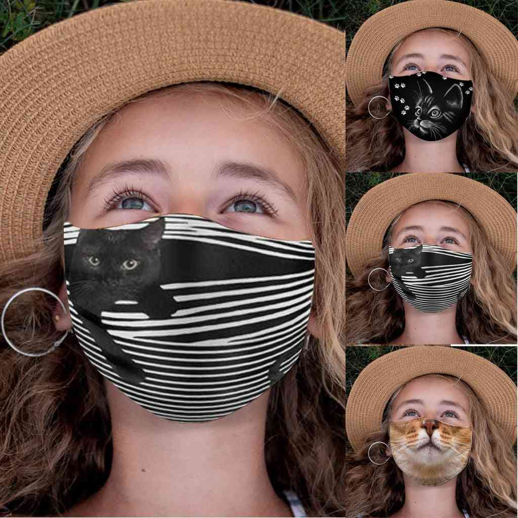 Breathable Animal Cat Print Face Cover Reusable & Washable Mask
