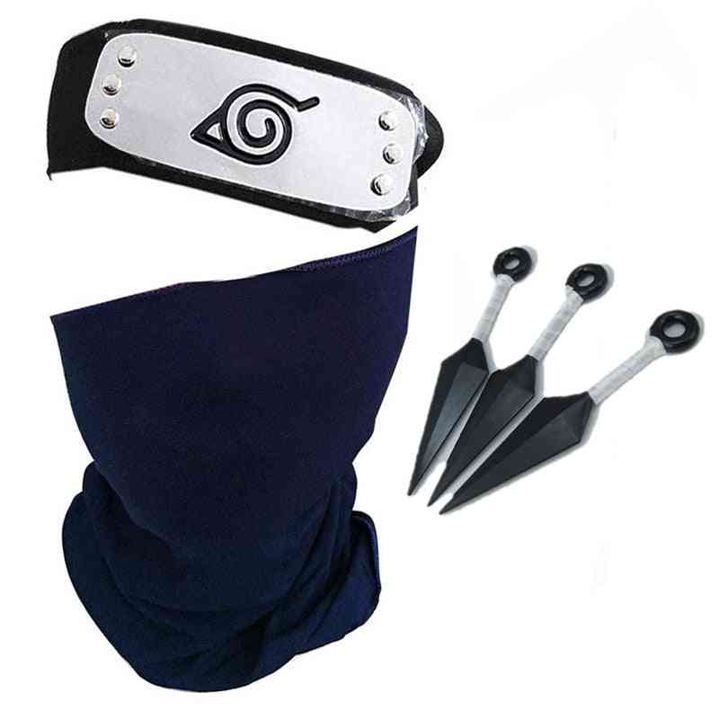 Naruto Hatake Kakashi Cosplay Headband Outfit Anime Masks Props Accessory