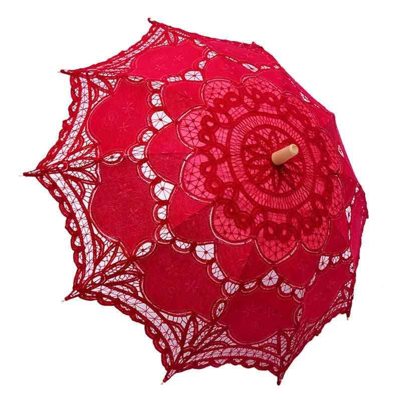 Elegant Cotton Embroidery Lace Parasol Summer Sun Umbrella