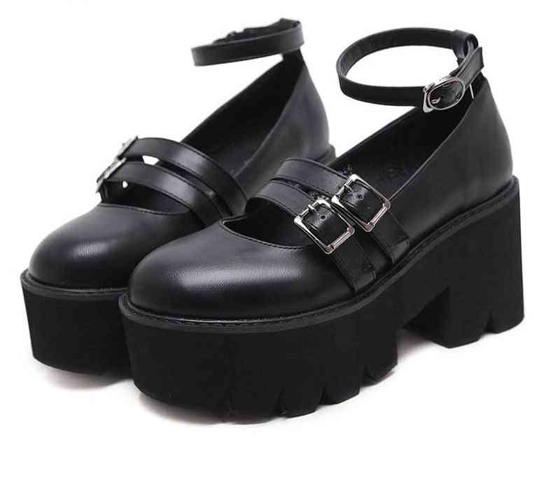 Womens Gothic Pump Shoes, Ankle Strap, High Chunky Heels Platform