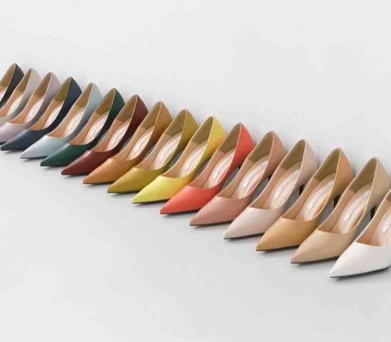 Women Working Shoes, Solid Pointed Toe Dress Shoe / Heels