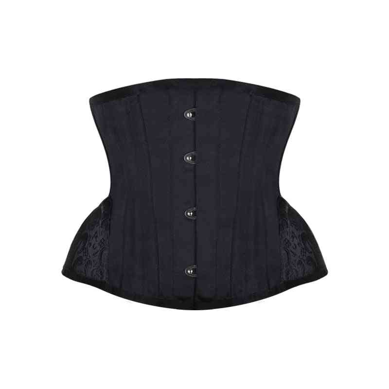 Steampunk Corset Waist Control Gothic Curved Hem Bustiers Embroidery Short Trainer