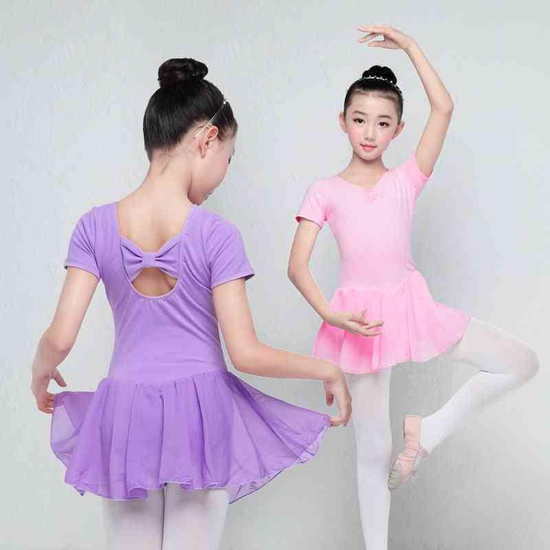 Long/short Sleeve- Ballet Leotard, Cotton Chiffon, Skirted Costumes Dress