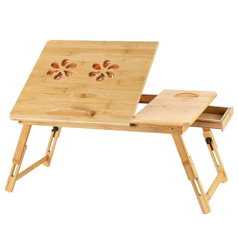 Adjustable Laptop Desk With Usb Cooling Fan, Bamboo Foldable Notebook Stands