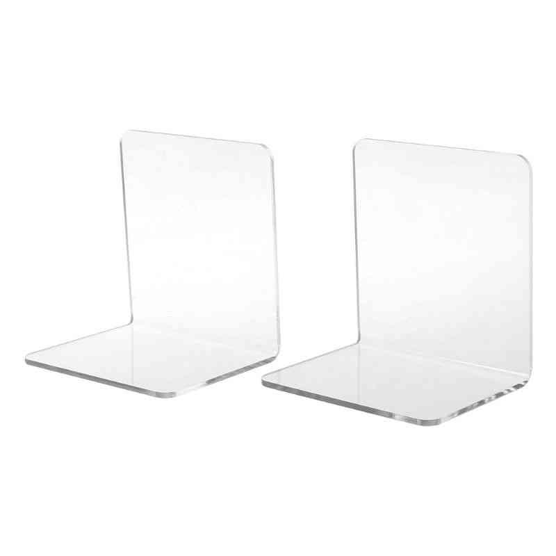 Clear Acrylic Bookends L-shaped Desk Organizer, Desktop Holder