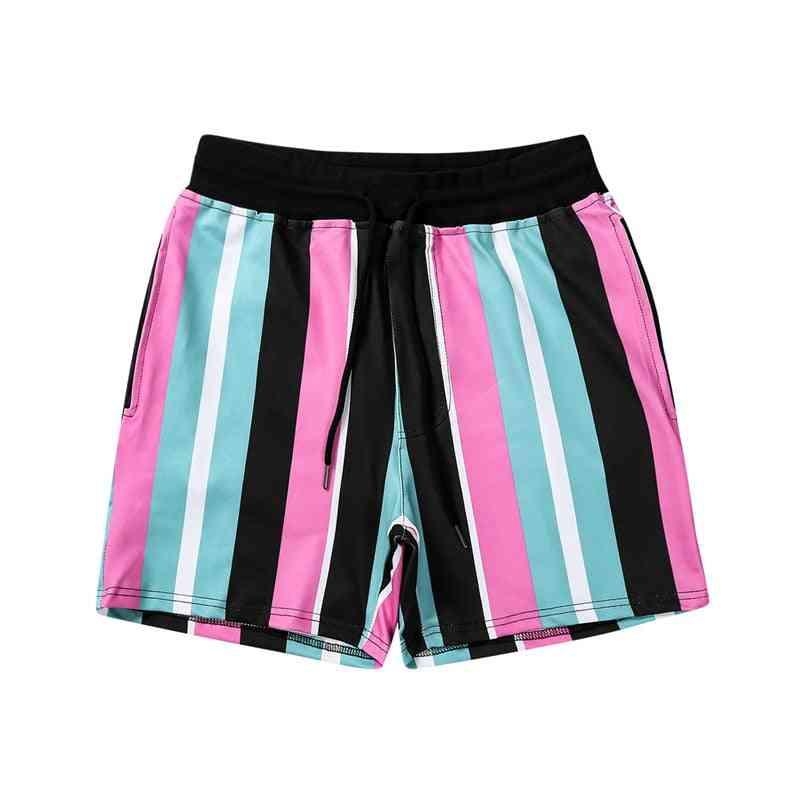 Men Summer Beach Striped Shorts, Sports Training Swimwear Short Pants
