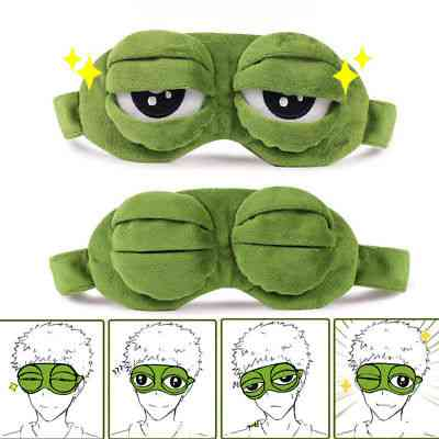 3d Sad Frog Closed/open Eye Padded Shade Cover Sleeping Mask