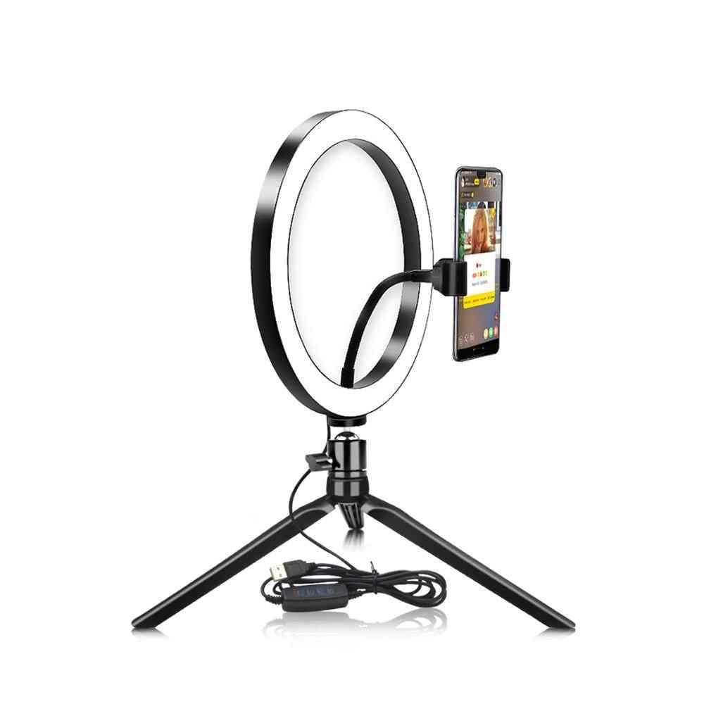 Usb led selfie ring light matkapuhelinvalaistus jalustalla (10inch-26cm)