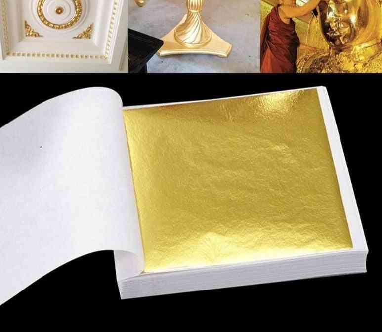100 Practical, Pure Shiny Gold Sheets For Wall Handicrafts Gilding Decoration