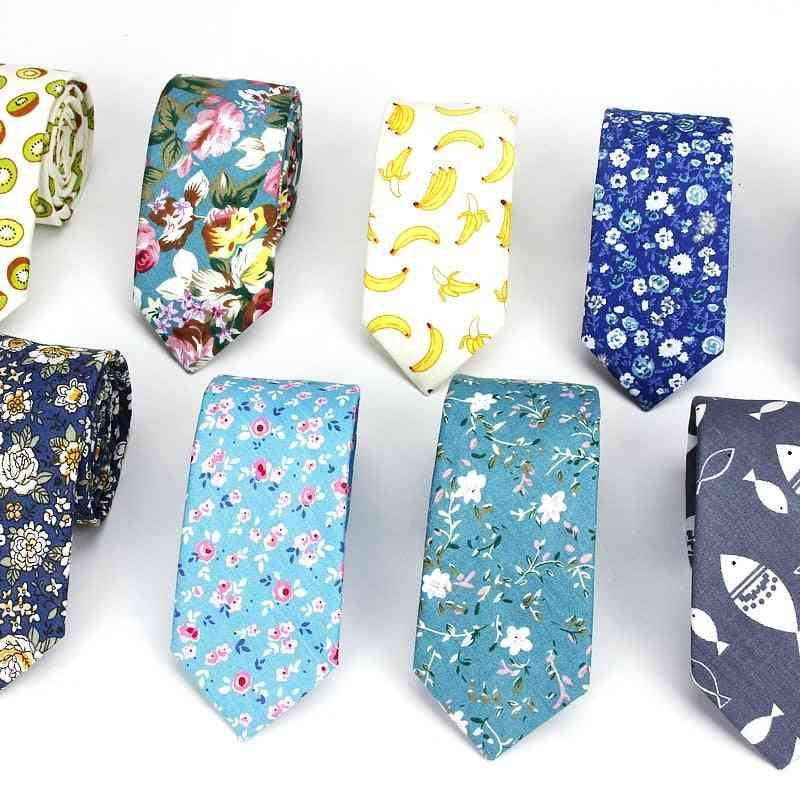 Men's Floral Neck Ties, Cotton Slim Skinny Flower Neckties