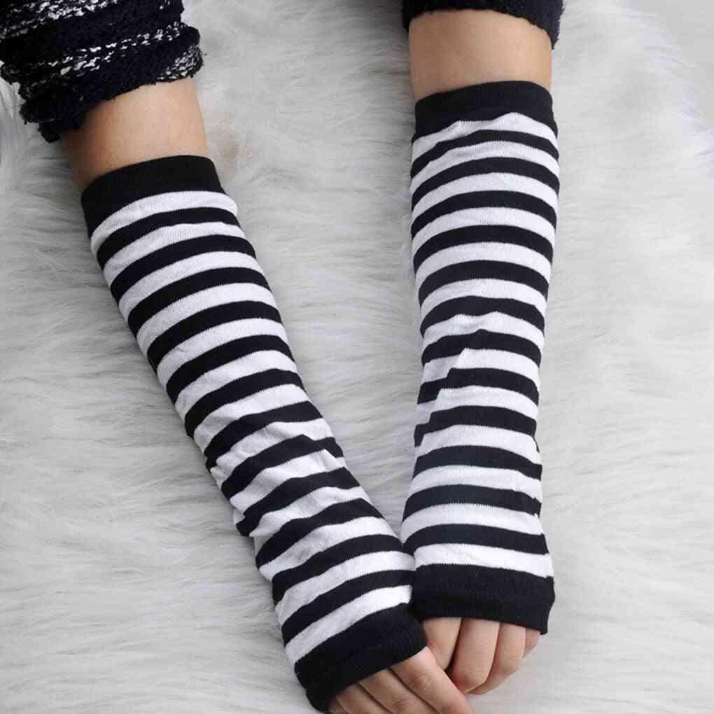 Striped Fingerless, Stretchy Wrist Arm Warmer, Long Sleeve Gloves's