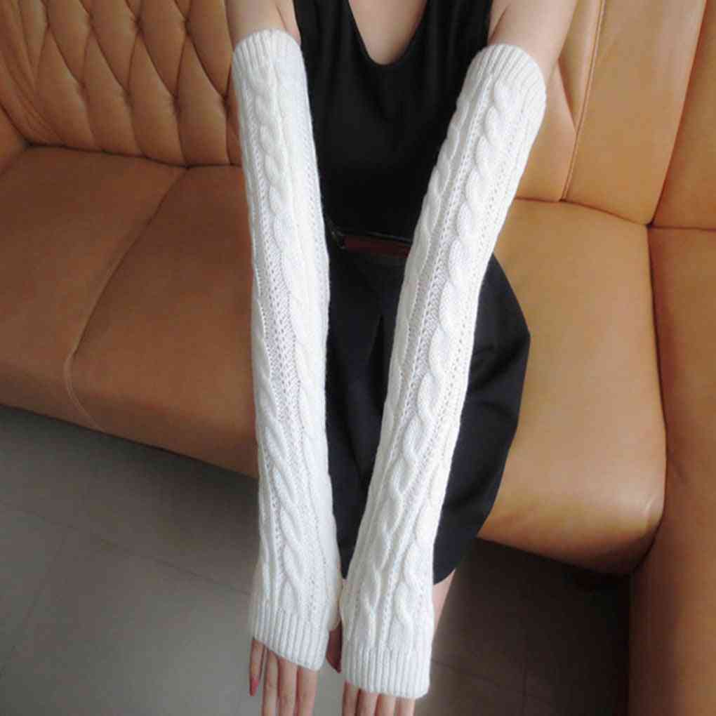 Winter Arm Gloves, Long Half Knitted Sleeves Riding Mittens