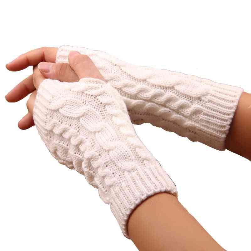 Women & Men Twist Crochet Knitted Fingerless Gloves
