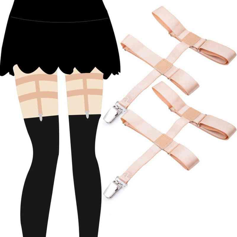 Knee High, Socks Leg, Elastic Long Stocking, Holder Garter Belt (skin)