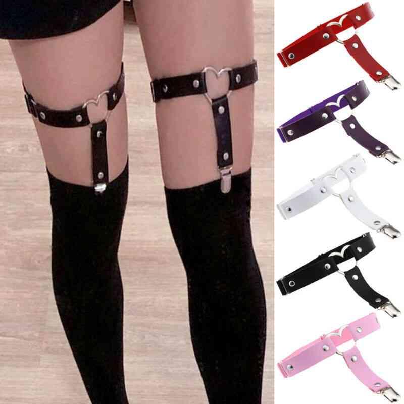 Women Elastic Garter Belt Harness Punk Gothic Leather Heart Leg Ring Suspenders