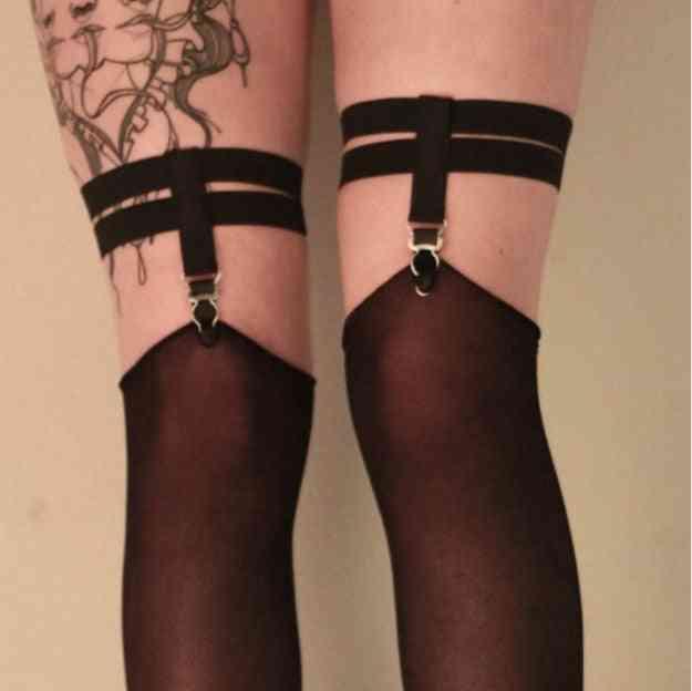 Fashion Goth Women Sock Strapless Suspender Belt For Stockings Garters Clip