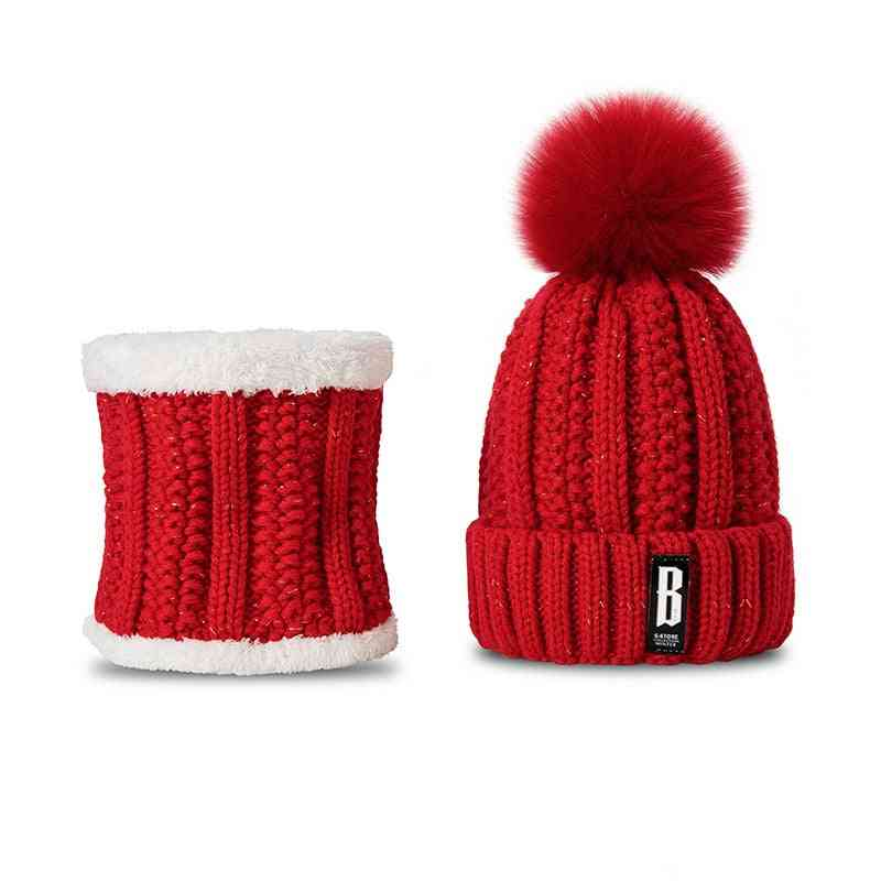 Fashion Winter Hat And Scarf Set, Thicken Warm Beanies For