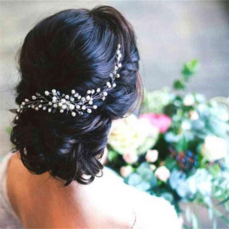 Trendy Crystal Pearl Hair Wedding Bridal Jewelry Ornament