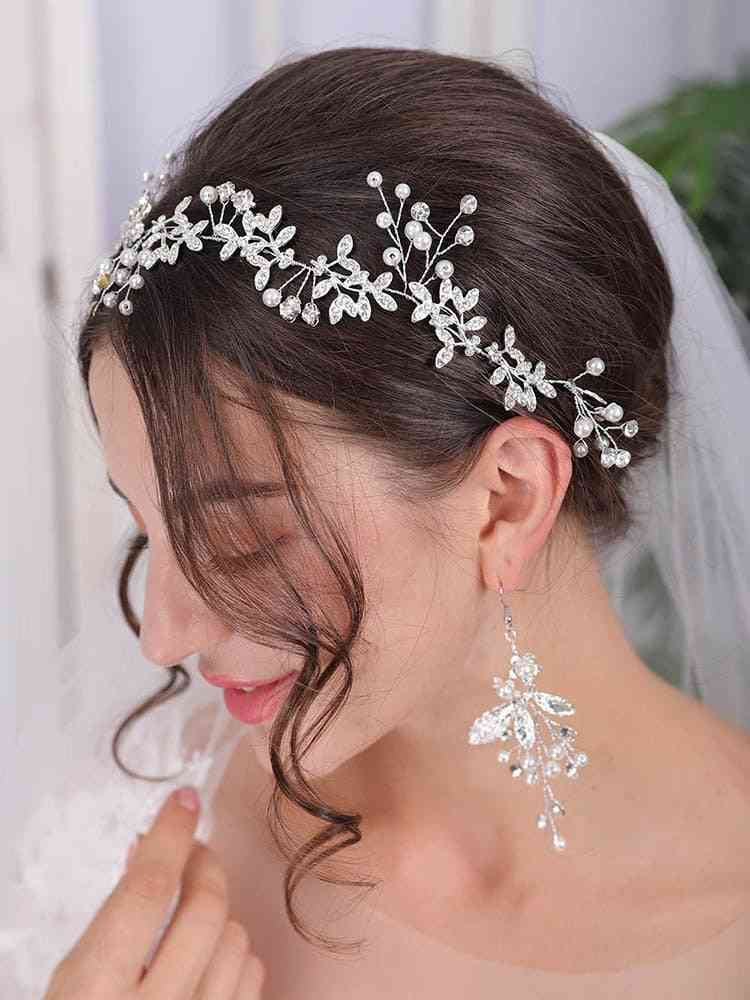 Hair Vine Pearl Crystal Vine Wedding Ribbon Headband