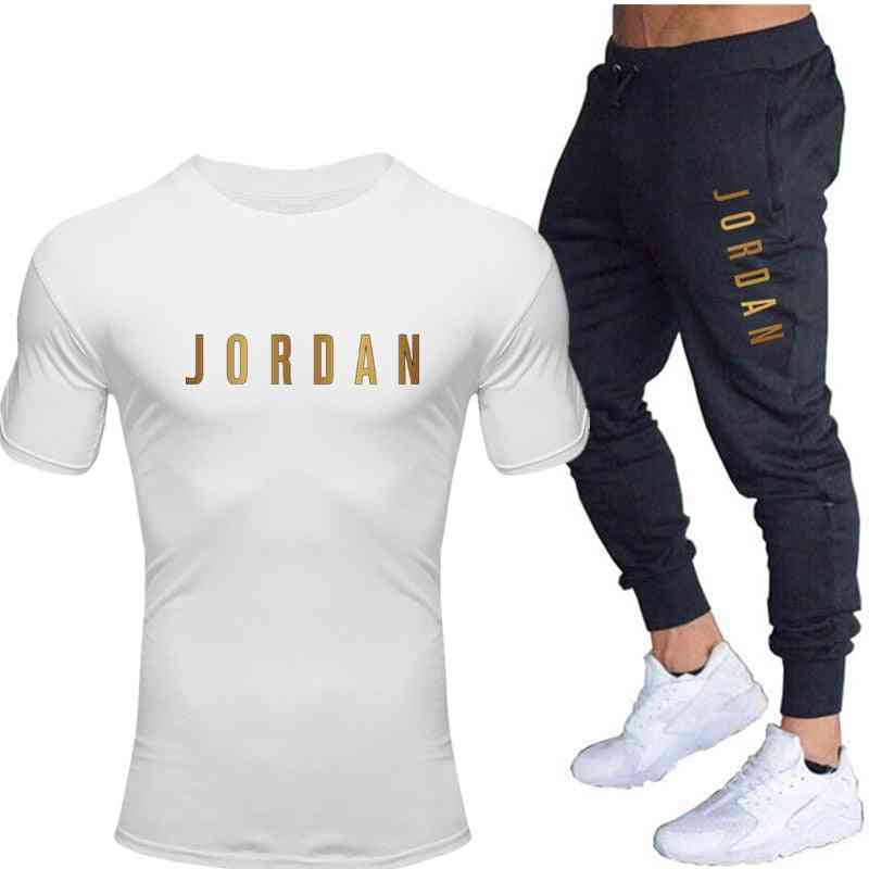 Men's Casual Tracksuit, Gyms Fitness Trousers - T Shirts+pant, Two Pieces Sets