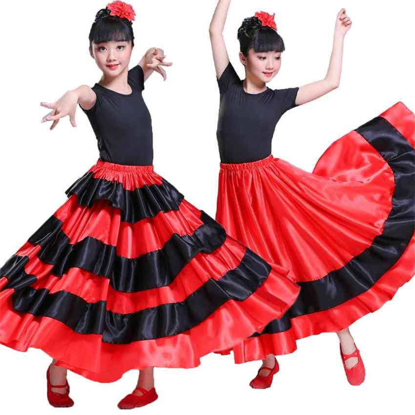 Flamenco Spanish, Chorus Bullfighting, Dance Dress Skirt