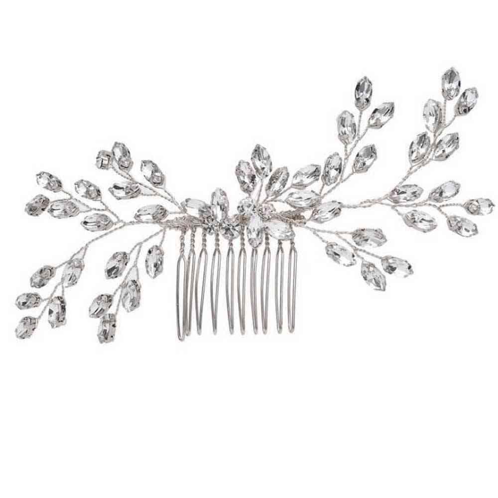 Hair Comb With Crystal Side Headpiece, Bride Wedding