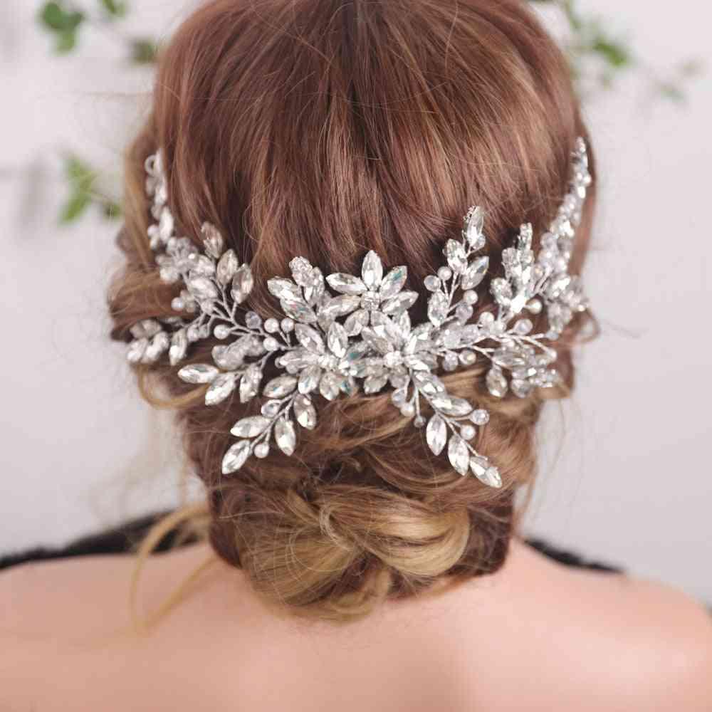 Vintage Rhinestones, Hair Shinny Pearls & Crystals Comb, Bridal Hair Piece