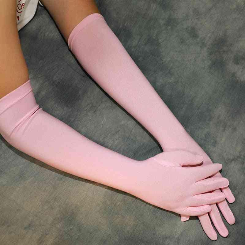 Satin Opera Length, Dance Long Gloves With Finger