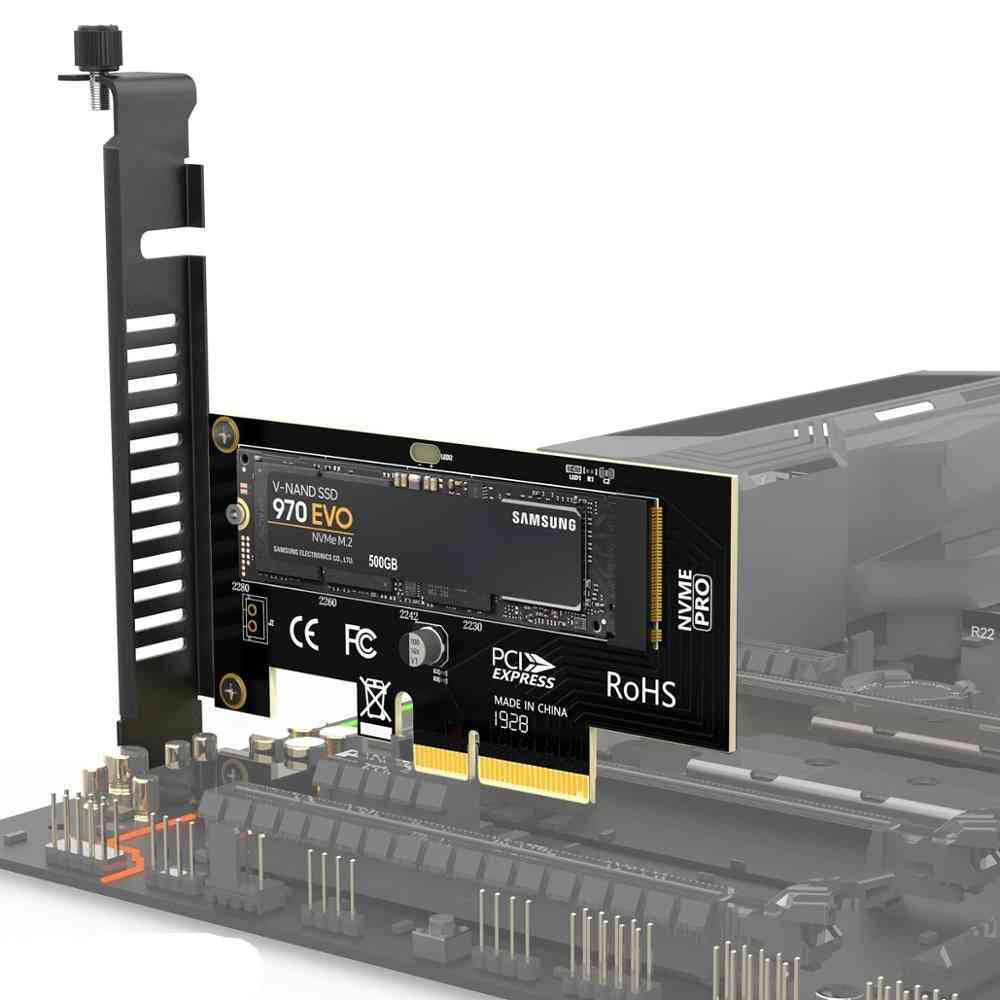 Nvme Ssd, Express Card, M Key To Pcie Adapter, External Support