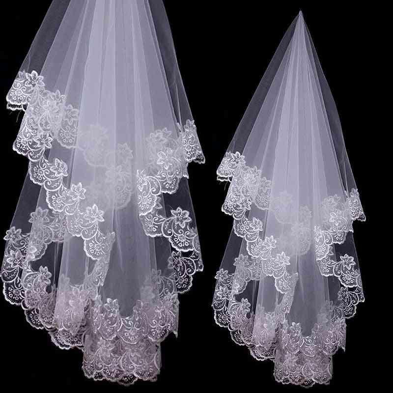 Cathedral Veils Short One Layer Bridal Veil Appliques Lace Edge No Comb