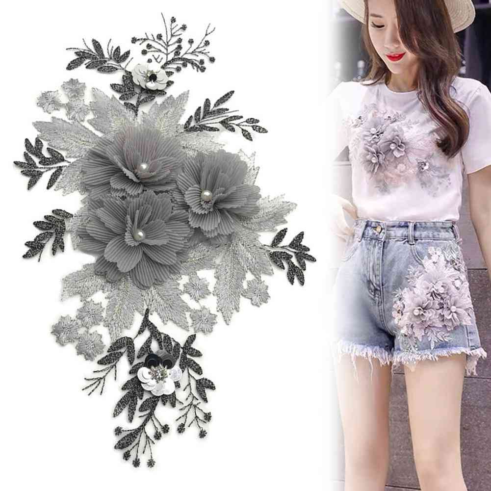 Beaded Flower Lace Embroidery Patch Sticker For T-shirt,cute Patches On Clothes