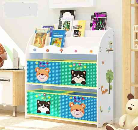 Children's Wooden Bookshelf Cabinet- Toy Rack