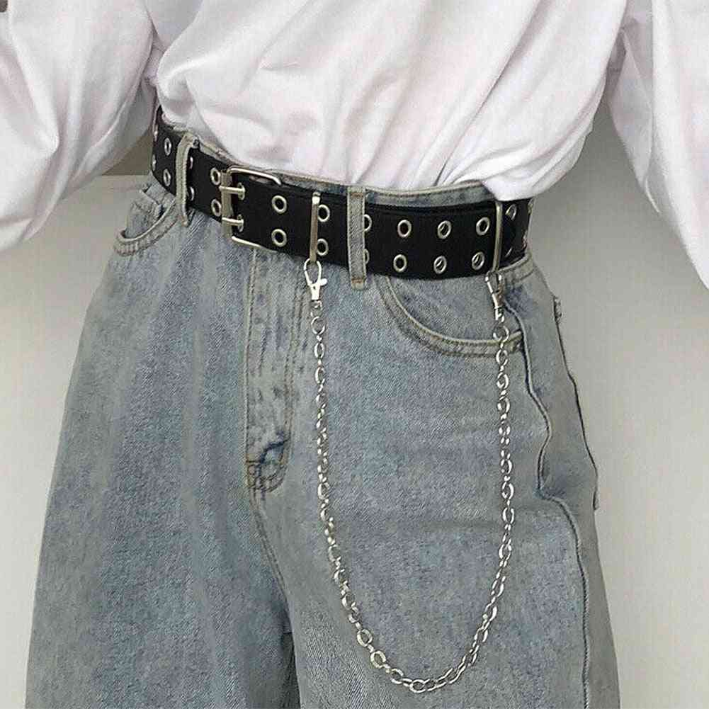 Double Row Hole Belt For Punk Style Waistband With Eyelet Chain