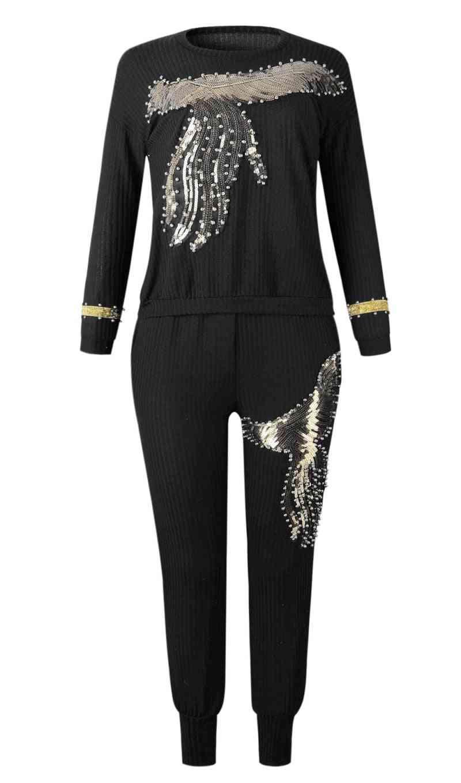 Women's Long Sleeve Beading Sequined, Elastic Bazin Baggy Pants Suit