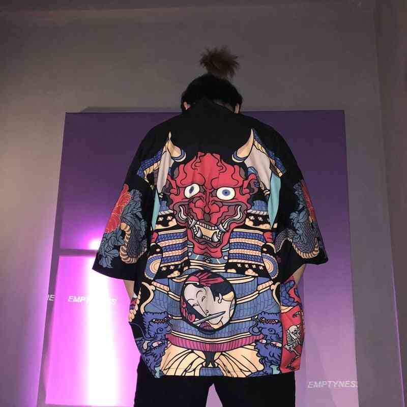 Men Kimono Jacket, Japan Harajuku Streetwear Samurai Clothes